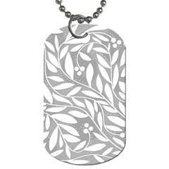 Gray And White Floral Pattern Dog Tag (two Sides) by Valentinaart