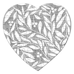 Gray And White Floral Pattern Jigsaw Puzzle (heart) by Valentinaart