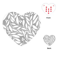 Gray And White Floral Pattern Playing Cards (heart)  by Valentinaart