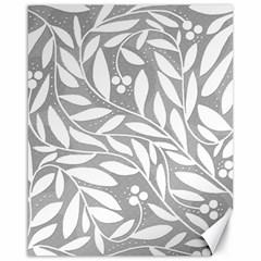 Gray And White Floral Pattern Canvas 16  X 20   by Valentinaart