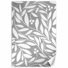 Gray And White Floral Pattern Canvas 20  X 30   by Valentinaart