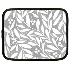 Gray And White Floral Pattern Netbook Case (large)