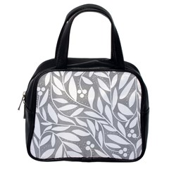 Gray And White Floral Pattern Classic Handbags (one Side)