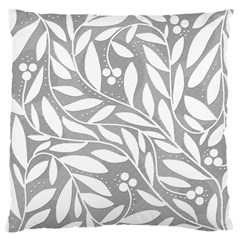 Gray And White Floral Pattern Large Cushion Case (one Side) by Valentinaart