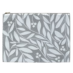 Gray And White Floral Pattern Cosmetic Bag (xxl)  by Valentinaart