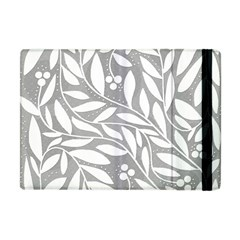 Gray And White Floral Pattern Apple Ipad Mini Flip Case by Valentinaart