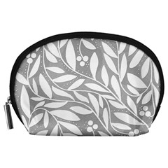 Gray And White Floral Pattern Accessory Pouches (large)  by Valentinaart