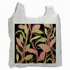 Pink And Ocher Ivy Recycle Bag (two Side)  by Valentinaart
