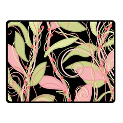 Pink And Ocher Ivy Fleece Blanket (small) by Valentinaart