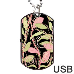 Pink And Ocher Ivy Dog Tag Usb Flash (one Side) by Valentinaart
