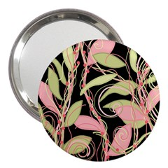 Pink And Ocher Ivy 3  Handbag Mirrors by Valentinaart