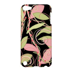 Pink And Ocher Ivy Apple Ipod Touch 5 Hardshell Case by Valentinaart