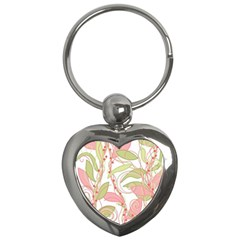 Pink And Ocher Ivy 2 Key Chains (heart)  by Valentinaart