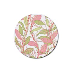 Pink And Ocher Ivy 2 Rubber Coaster (round)  by Valentinaart