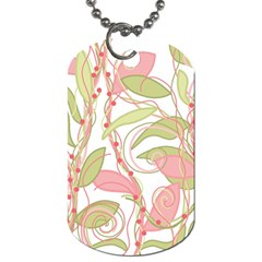 Pink And Ocher Ivy 2 Dog Tag (two Sides) by Valentinaart
