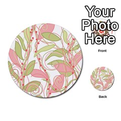 Pink And Ocher Ivy 2 Multi Purpose Cards (round)  by Valentinaart