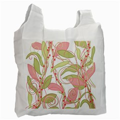 Pink And Ocher Ivy 2 Recycle Bag (two Side)  by Valentinaart