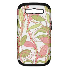 Pink And Ocher Ivy 2 Samsung Galaxy S Iii Hardshell Case (pc+silicone) by Valentinaart