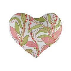 Pink And Ocher Ivy 2 Standard 16  Premium Flano Heart Shape Cushions
