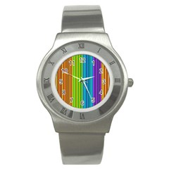 Colorful Lines Stainless Steel Watch by Valentinaart