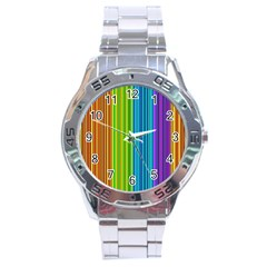 Colorful Lines Stainless Steel Analogue Watch by Valentinaart