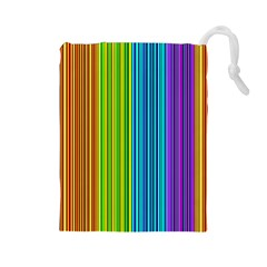 Colorful Lines Drawstring Pouches (large)  by Valentinaart