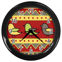 Brown Bird Pattern Wall Clocks (black) by Valentinaart