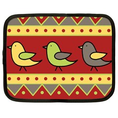 Brown Bird Pattern Netbook Case (xl)  by Valentinaart