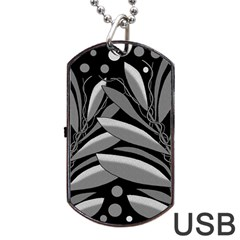 Gray Plant Design Dog Tag Usb Flash (two Sides)  by Valentinaart