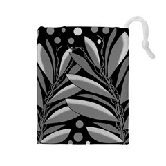 Gray Plant Design Drawstring Pouches (large)