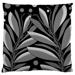 Gray Plant Design Large Flano Cushion Case (one Side) by Valentinaart