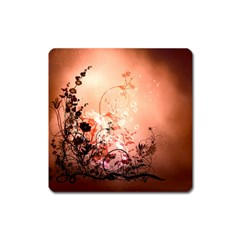 Wonderful Flowers In Soft Colors With Bubbles Square Magnet by FantasyWorld7