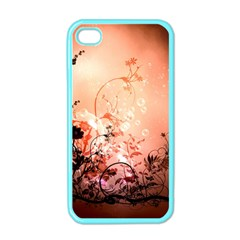 Wonderful Flowers In Soft Colors With Bubbles Apple Iphone 4 Case (color) by FantasyWorld7