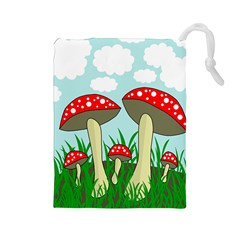 Mushrooms  Drawstring Pouches (large)