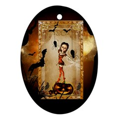 Halloween, Cute Girl With Pumpkin And Spiders Ornament (oval)  by FantasyWorld7