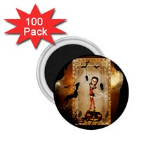 Halloween, Cute Girl With Pumpkin And Spiders 1 75  Magnets (100 Pack)