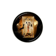 Halloween, Cute Girl With Pumpkin And Spiders Hat Clip Ball Marker (10 Pack) by FantasyWorld7
