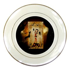 Halloween, Cute Girl With Pumpkin And Spiders Porcelain Plates by FantasyWorld7