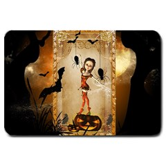 Halloween, Cute Girl With Pumpkin And Spiders Large Doormat  by FantasyWorld7