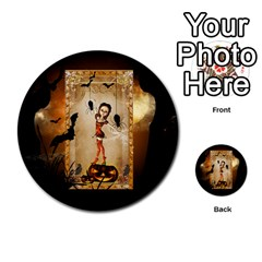Halloween, Cute Girl With Pumpkin And Spiders Multi Purpose Cards (round)  by FantasyWorld7