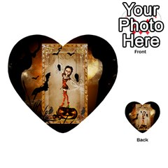 Halloween, Cute Girl With Pumpkin And Spiders Multi Purpose Cards (heart)  by FantasyWorld7