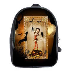 Halloween, Cute Girl With Pumpkin And Spiders School Bags(large)  by FantasyWorld7