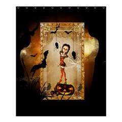 Halloween, Cute Girl With Pumpkin And Spiders Shower Curtain 60  X 72  (medium)  by FantasyWorld7