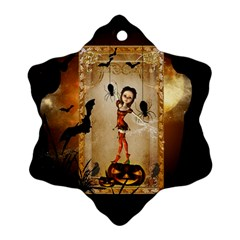 Halloween, Cute Girl With Pumpkin And Spiders Snowflake Ornament (2 Side) by FantasyWorld7