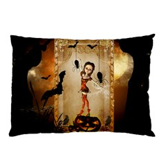 Halloween, Cute Girl With Pumpkin And Spiders Pillow Case (two Sides) by FantasyWorld7