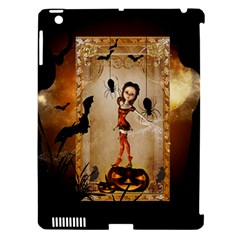 Halloween, Cute Girl With Pumpkin And Spiders Apple Ipad 3/4 Hardshell Case (compatible With Smart Cover) by FantasyWorld7