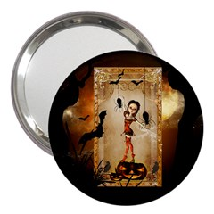 Halloween, Cute Girl With Pumpkin And Spiders 3  Handbag Mirrors by FantasyWorld7