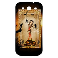 Halloween, Cute Girl With Pumpkin And Spiders Samsung Galaxy S3 S Iii Classic Hardshell Back Case by FantasyWorld7