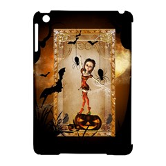 Halloween, Cute Girl With Pumpkin And Spiders Apple Ipad Mini Hardshell Case (compatible With Smart Cover) by FantasyWorld7