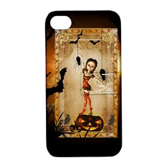 Halloween, Cute Girl With Pumpkin And Spiders Apple Iphone 4/4s Hardshell Case With Stand by FantasyWorld7